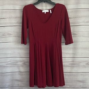 Lark & Ro Red Long Sleeve Knit Fit & Flare Dress